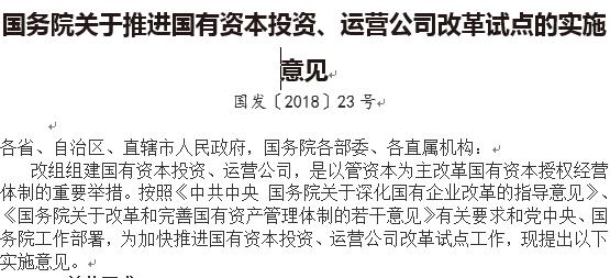 国务院关于推进国有资本投资、运营公司改革试点的实施意见